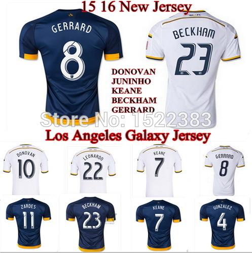 Thai camisetas LA Galaxy 15 16 GERRARD Soccer Jersey MLS Los Angeles Galaxy 2015 Football Shirt DONOVAN JUNINHO KEANE BECKHAM(China (Mainland))