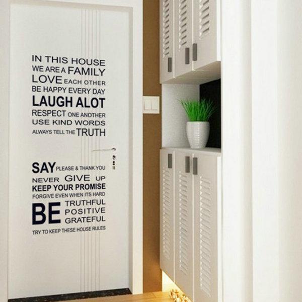 90*60CM English Words Printing Wall Decal Transparent Film Glass Sticker Art LL(China (Mainland))