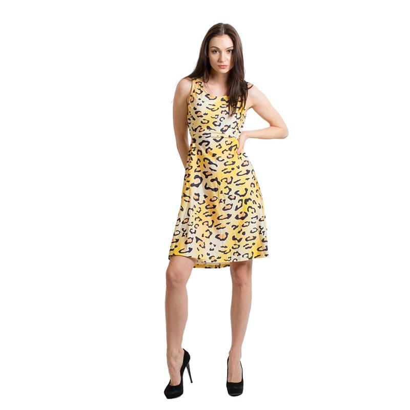 Women Sexy Leopard Mini Dress Female Backless Dress Fashion Women Sleeveless Party Dress Hot Sale Above Knee Dress(China (Mainland))