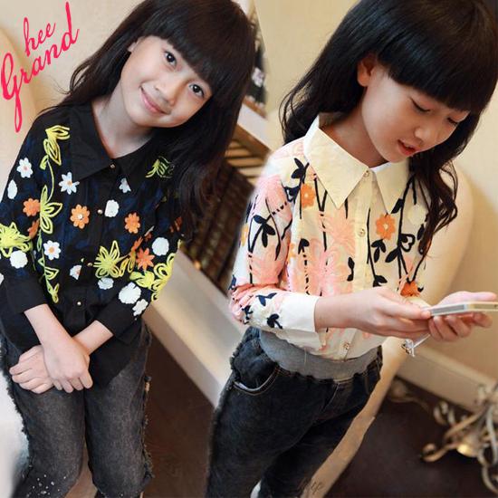 Elegant Girl's Blouses .2015 New Spring Autumn Flower Printed Long-sleeved White Black Kids Shirts Fashion Girls Shirts TSC011(China (Mainland))