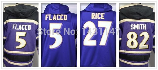 5 Joe Flacco 27 Ray Rice 82 Torrey Smith Hoodies Cheap Sweatshirts American Football Hoodie Authentic Color Purple Size M-XXXL(China (Mainland))