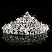 Gorgeous Rhinestone Princess Crown Headwear Wedding Bride Tiara Headwear Hair Pin Wedding Jewelry 1#JT