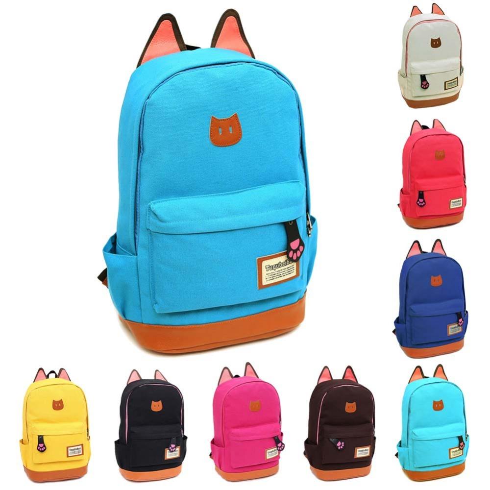 Cute Cat Ear Cartoon Canvas Backpack Girl Satchel School Bag Rucksack Shoulder Bag 9 Colors E
