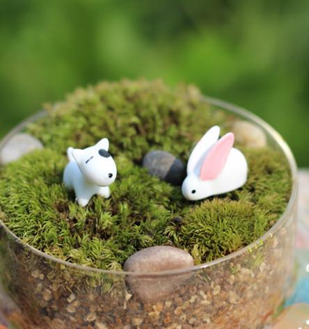 2 Pcs dog and rabbit /fairy garden gnome/moss terrarium home decor/crafts/craft bonsai/bottle garden/miniatures(China (Mainland))