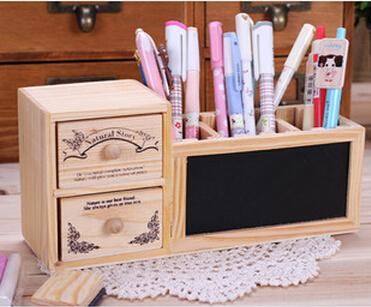 2sets/lot kawaii wooden pencil box storage box multifunctional desk organizer office accessories wholesale free shipping 2407(China (Mainland))