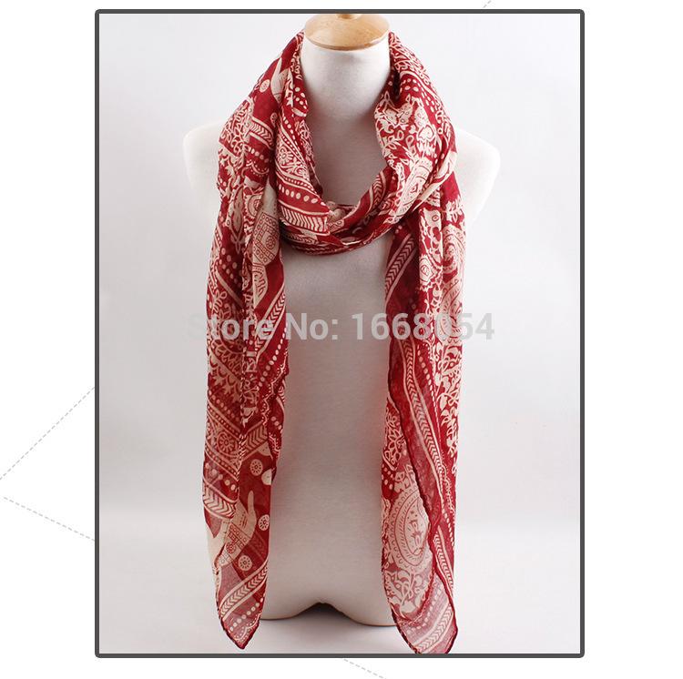 Indian style Elephant scarf, Elephant Print scarf, Animal print scarf, Long Scarf(China (Mainland))