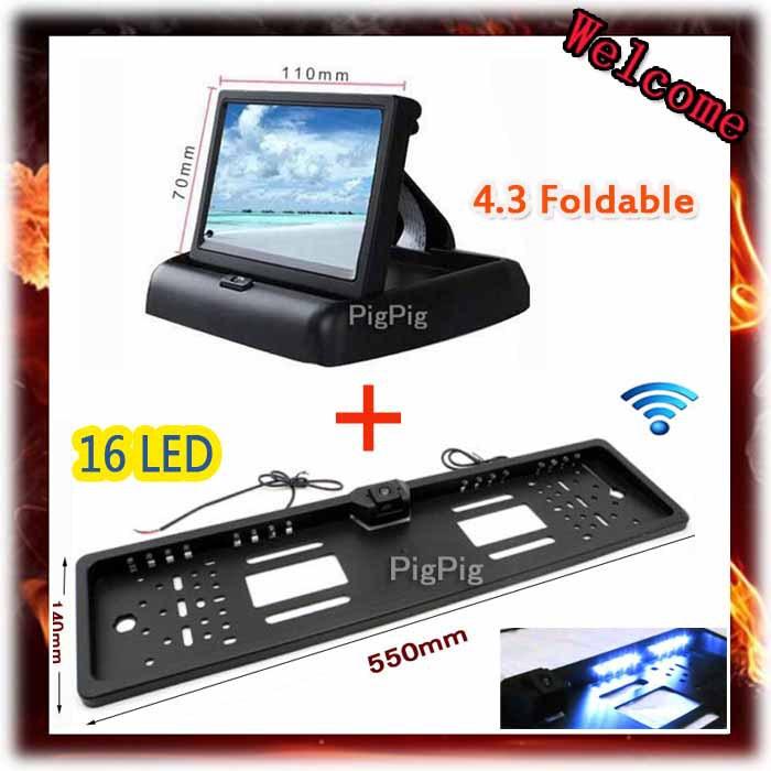 Folding 4.3''TFT Color LCD Screen Parking Sensor Video Monitor Car TV Rearview Backup for Reverse EU 16 LED License Plate Camera(China (Mainland))