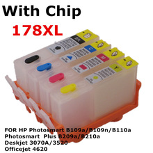 For 178 XL Refillable ink Cartridge for HP Photosmart  B109a B109n B110a B209a B210a Deskjet 3070A 3520 Officejet 4620 printer