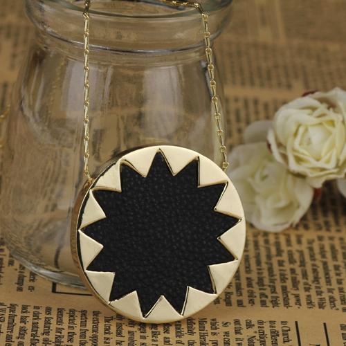 Hot sale! House of harlow black leather sunburst necklace,fashion pendant necklace jewelry wholesale Free Shipping(China (Mainland))