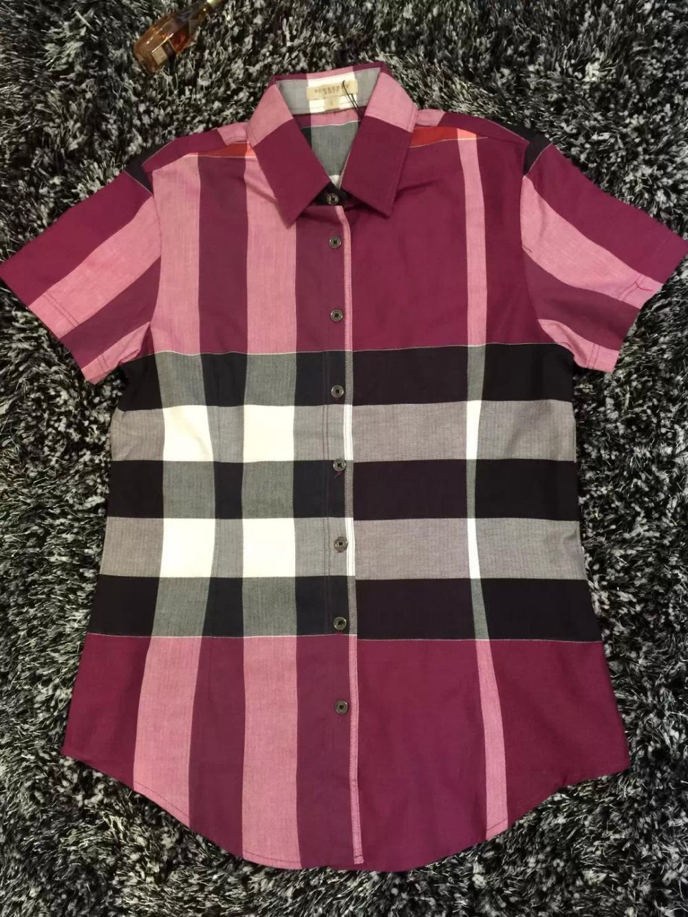 Hot Women Fashion British Brand Summer Turn-down Short Sleeve Big Plaid Casual Shirts/Designer Big Check Tops/Blouse T-shirts(China (Mainland))