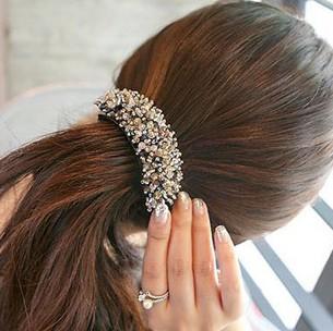 BS1981 Accessories shining crystal bead banana hair clips clip curviplanar tail clip(China (Mainland))