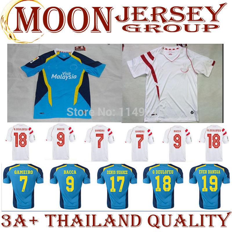 New Arrival Spain DENIS SUAREZ jersey Blouse 15 Away blue Seville FC 2014 2015 Home Soccer Jersey Futbol Sweatshirt Camisa LEP(China (Mainland))