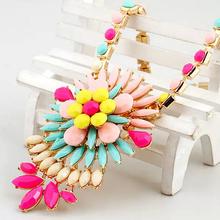 Womens Sunflower Shape Resin Choker Necklace Fashion Multicolor Collar Jewlery New