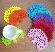 410 Hot Promotion 5pcs/lot Send Randomly Cute Tree Shape Table Mat Pad Cup Bowl Holder Coaster Z24(China (Mainland))