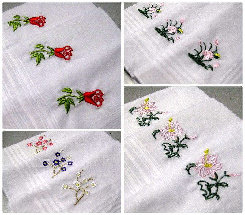 12 Pieces / One Dozen Large Size 37cm x 37cm Embroidered 100% Cotton Handkerchiefs(China (Mainland))