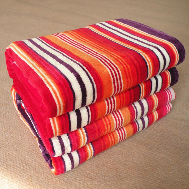 100 coton grande serviette de bain rouge pourpre bande. Black Bedroom Furniture Sets. Home Design Ideas