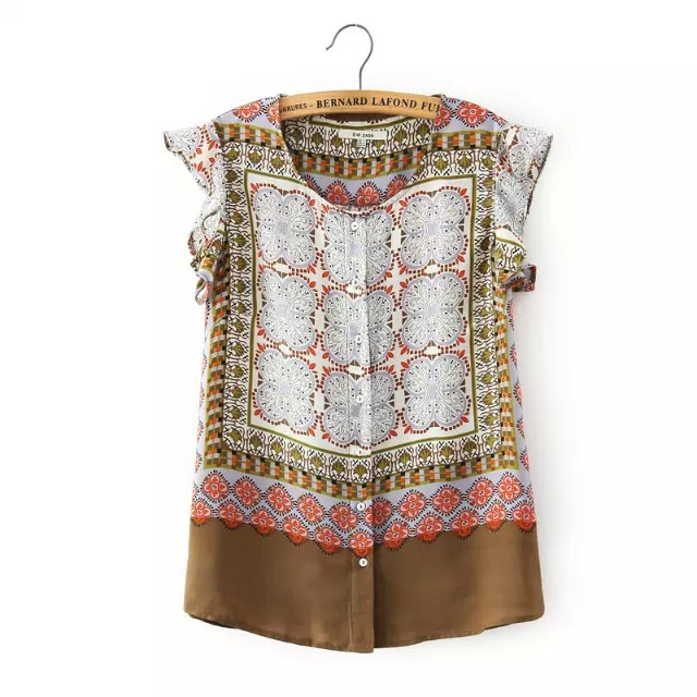 Summer New 2015 Ladies ZA Brand Vintage Totem Flower Floral Print Blouses Shirts Women Butterfly Sleeve Casual Blusas Tops C372(China (Mainland))