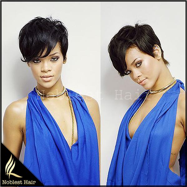 6A Grade Glueless Full Lace Rihanna Chic Cut Short Human Hair Wigs Unprocessed Virgin Brazilian Human Hair Wigs For Black Women(China (Mainland))