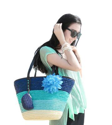 Fashion 2015 Designer Straw Woven Bag Summer Women Ladies Tote Beach Bag Shoulder Bags(China (Mainland))