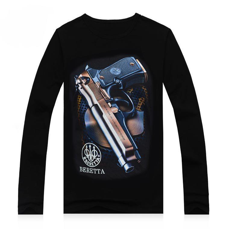 Hommes new automne à manches longues creative t - shirt coton pistolet à long écran de soie impression école porter vêtements pour hommes(China (Mainland))