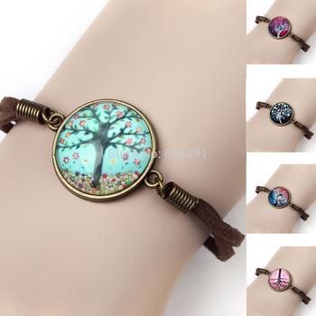 Новое объявление винтаж красочные древо жизни стекло кабошоны браслет кожаный браслет ...