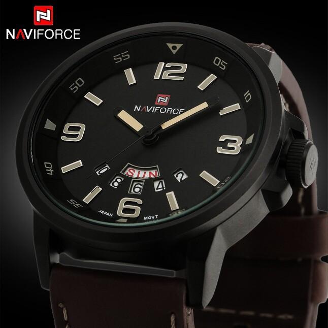 Hot sales Naviforce Fashion Brand Leather Waterproof Date Day Hours Quartz Clock Army Military Sport Watch Men Relogio Masculino(China (Mainland))