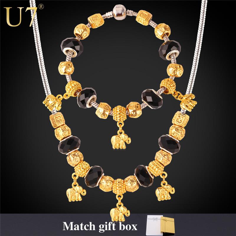 Crystal Bead Necklace Set 2015 New 18K Gold Plated Elephant Pendant Necklace Bracelet PAN Jewelry Set Bohemia Jewelry S605(China (Mainland))