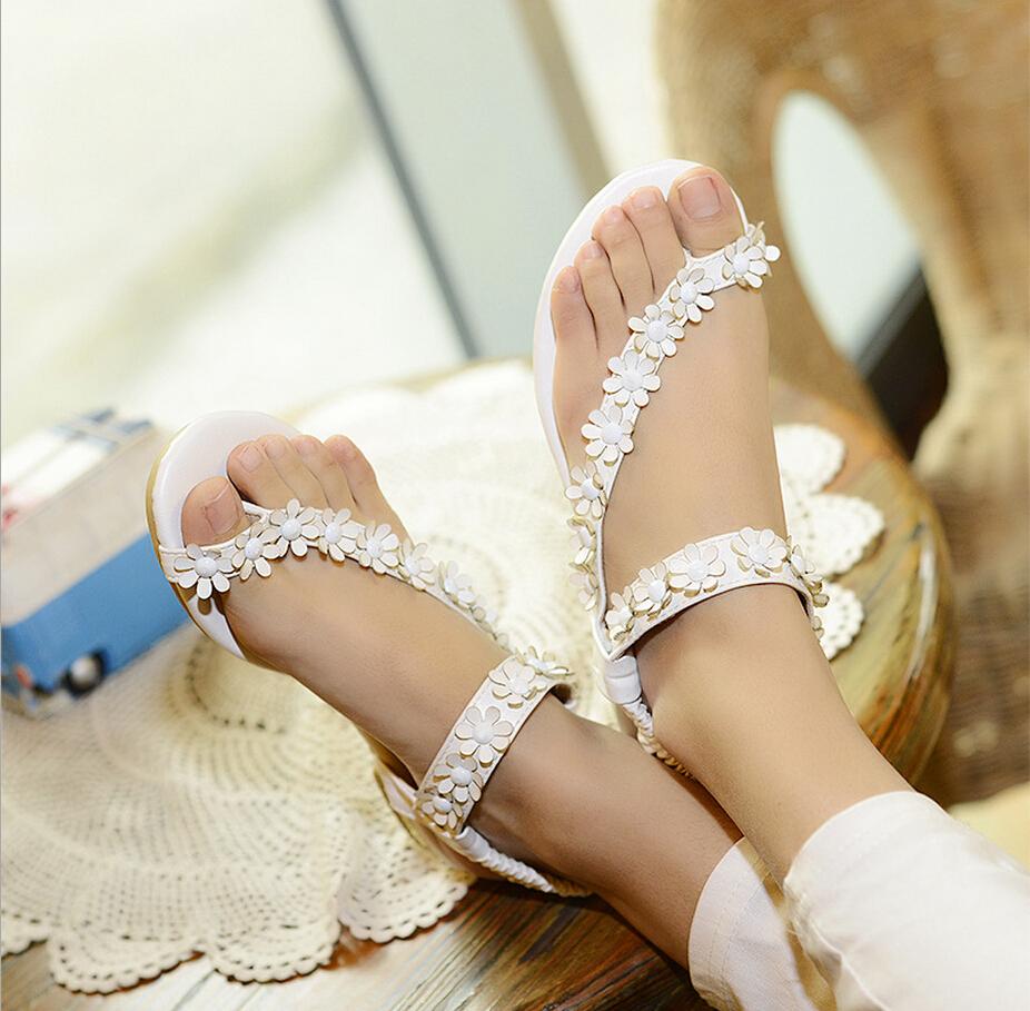 Marca New Womens senhoras sandálias de verão Casual Boho Flats Toe Post sapatos Flip Flop asiático gladiator Sandals 2 cor #1(China (Mainland))