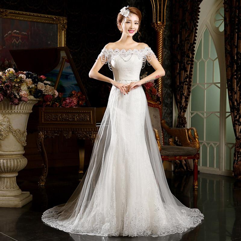 2015 de casamento de verão formal vestido de casamento da noiva fenda decote rendas peixe cauda longa fuga(China (Mainland))