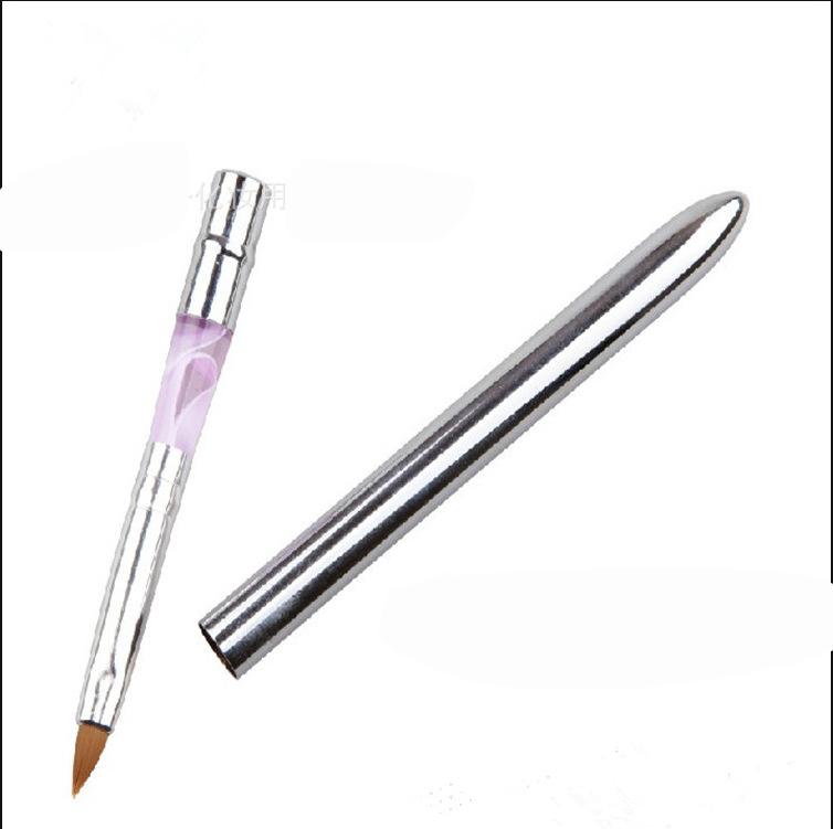 Modular aluminum nail brush 2 # crystal carved nail brush a discount factory outlets kolinsky acrylic nail brush(China (Mainland))