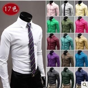 2015 nova marca homens Shirt sólidos camisa Formal do negócio de manga comprida Plus Size Casual masculino camisas de vestido camisa Social mens XXXL(China (Mainland))