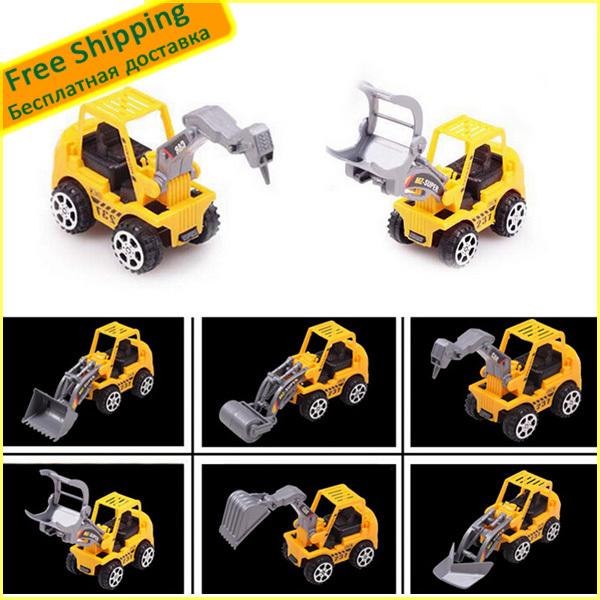 (6PCS/Set) Mini ABS Mini Mini Engineering Excavator Model Toys Set Lovely/Exquisite Car Models Toy Free shipping(China (Mainland))