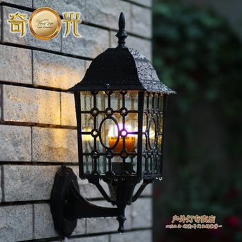 Quality european landscapes wall lamp outdoor waterproof courtyard gazebo canopy light wall lamp Aluminium+glass free shipping(China (Mainland))