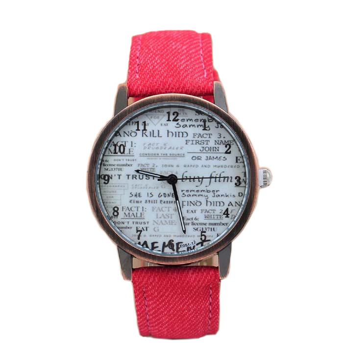 Hotest style news paper print Quartz Watches Men Sports Watch Denim Fabric Women Dress wristwatch Design hours Unisex watch(China (Mainland))