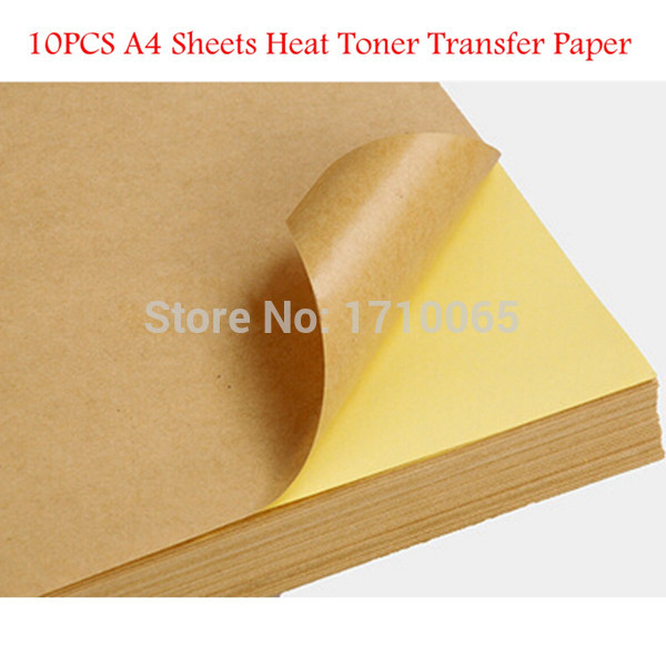 10 Pcs Kraft Sticker Paper Heat Toner Transfer A4 Self Adhesive Brown Kraft Printing Copy Label Paper For Laser Inkjet Printer(China (Mainland))