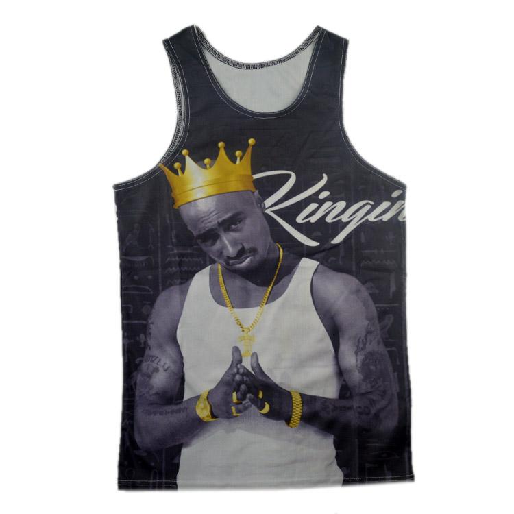 Raisevern fashion 3D sleeveless tee shirt tank tops tupac 2pac King wearing Golden Crown T shirt top hip hop clothes wholesale(China (Mainland))