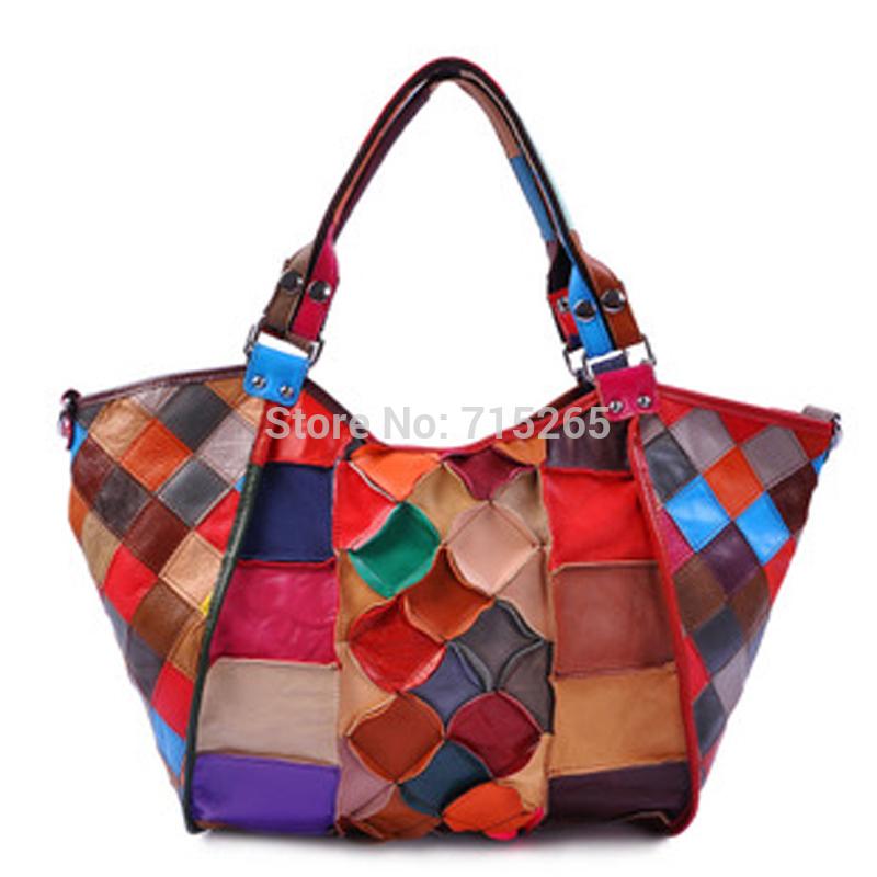 Women Messenger Bags Designer Genuine Leather Handbag Brand Sheepskin Large ART Tote Bag patchwork design Super cheap clearance(China (Mainland))
