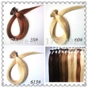 Baratos por atacado de virgem extensões de cabelo fusão italiano queratina Remy indiano cabelo liso humano pré bonded I-tip cabelo 0.5 g/s(China (Mainland))