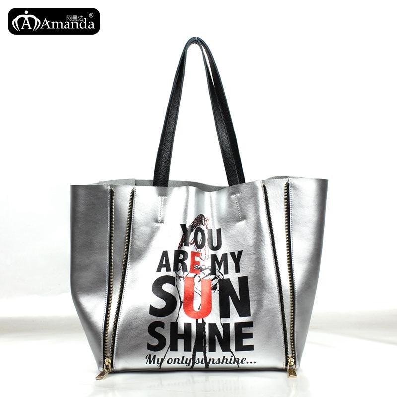 2015 Leather Handbag European And American Silver Zipper Punk Rock Handbags Fashion Personality Printing Messenger Shoulder Bags(China (Mainland))
