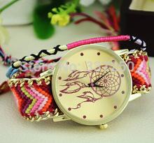2015  Fashion   Watch   weave  Strap Braided winding  Rivet  Bracelet  Watches  Women   Wristwatch