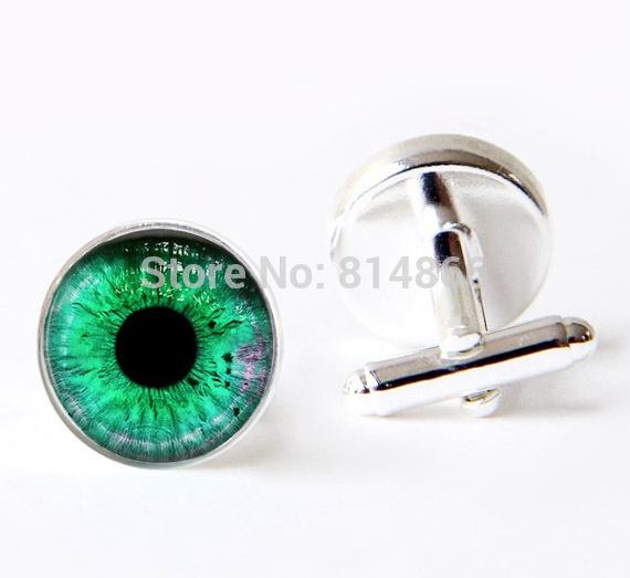 (BUY 3 GET 1 FREE )Green Eye cufflinks Glass Dome Art Picture cuff links Photo cuff links Handcrafted cufflinks(China (Mainland))