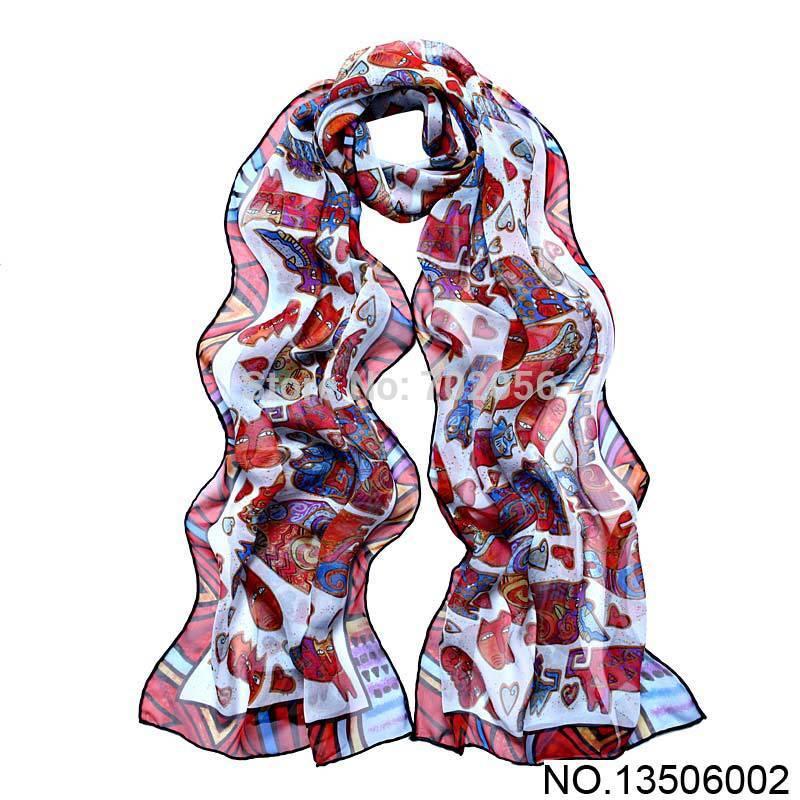 Spring summer Cat print All-match women 100% silk scarf wrap shawl size 170*50cm #3502(China (Mainland))
