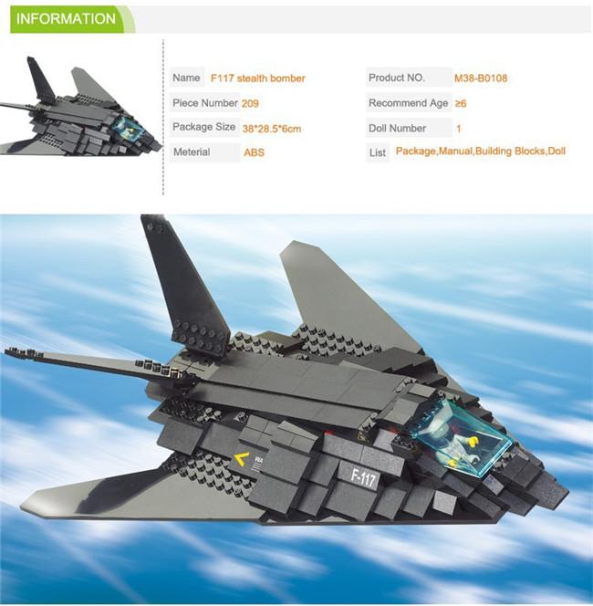 Sluban M38-B0108 Military F117 bomber plane bricks war Education bombardment aircraft Compatible with Legominifigure(China (Mainland))