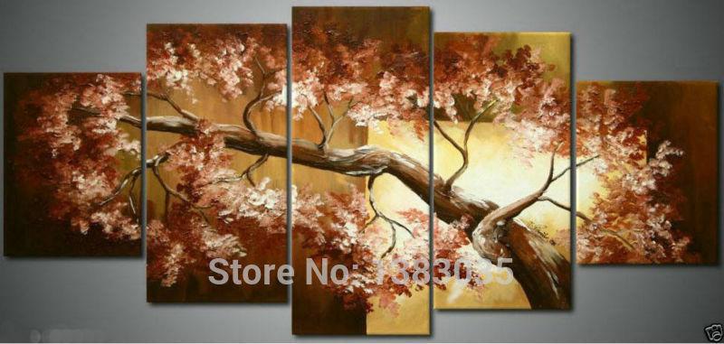 Pintados à mão abstrata moderna pintura a óleo da árvore ramos da arte da parede 5 peça lona decoração imagem Set(China (Mainland))