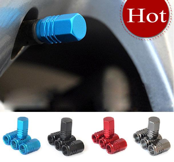 4Pcs/lot Universal Auto Bicycle Car Tire Valve Caps Tyre Wheel Hexagonal Ventile Air Stems Cover Airtight rims Accessories(China (Mainland))