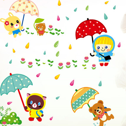 Removable wall stickers rain play a game cartoon children s room