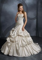ivory satin strapless sweep train 2010 new wedding dress 5330