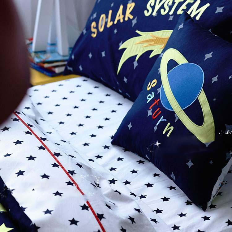 2015 special offer deep color kids room decoration 6pcs bedding set pure cotton solar system for - Solar system comforter set ...