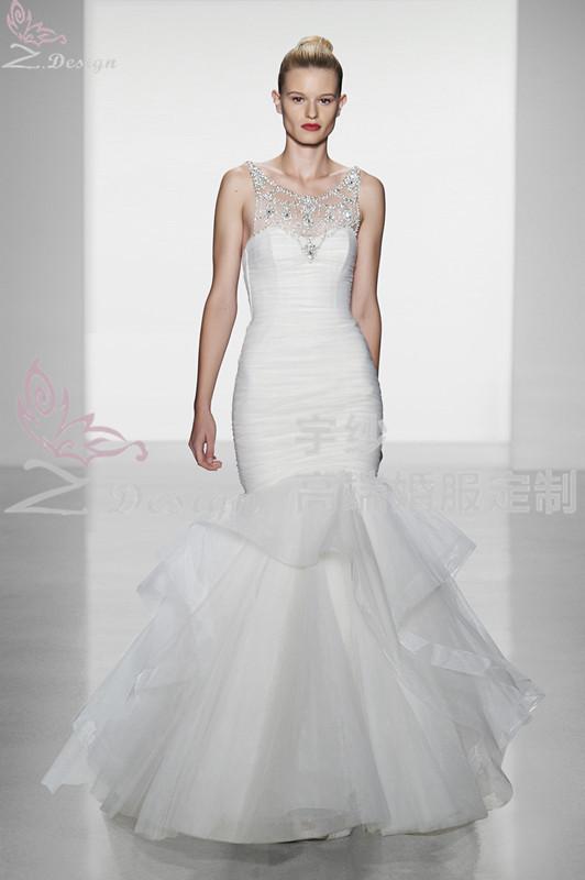 Sewing shrink pockets hip fishtail wedding dress sexy fine condole belt catch plait show thin fishtail wedding dress(China (Mainland))