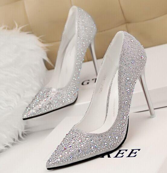 Hot sell sweet gentle elegant thin high heels shallow mouth pointed toe rhinestone diamond women shoes(China (Mainland))
